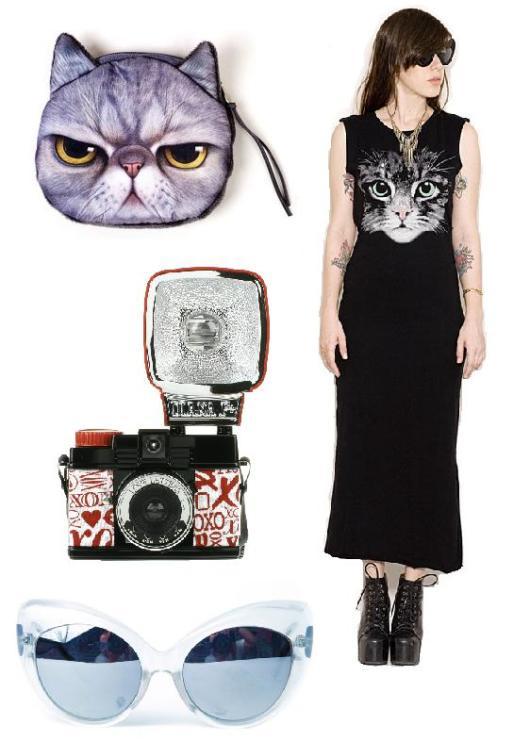 ארנק מטבעות גראמפי / שמלת מקסי שחורה בהדפס חתול / מצלמת לומו / משקפי שמש דה מודיס (שקוף)