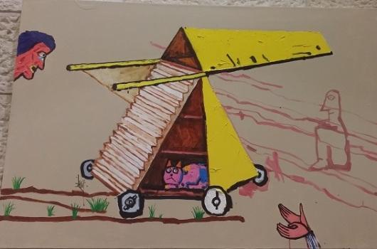 לאו ריי, The siege machine, שמן ואקריליק על ב