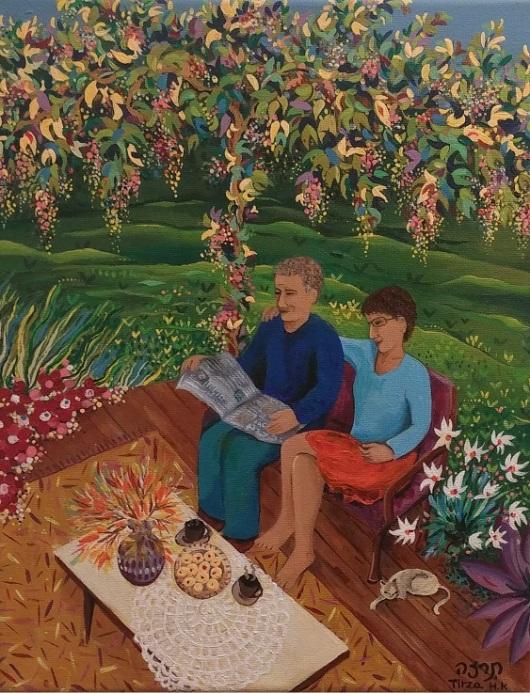 """""""כשאני מתחילה ציור ואני בתוכו, אז אין שעות ואין ימים"""" - כמו חווית הזרימה שתיאר פרופ' מיהי צ'יקסנטמיהיי. יחד על הטרסה, 2011/12"""