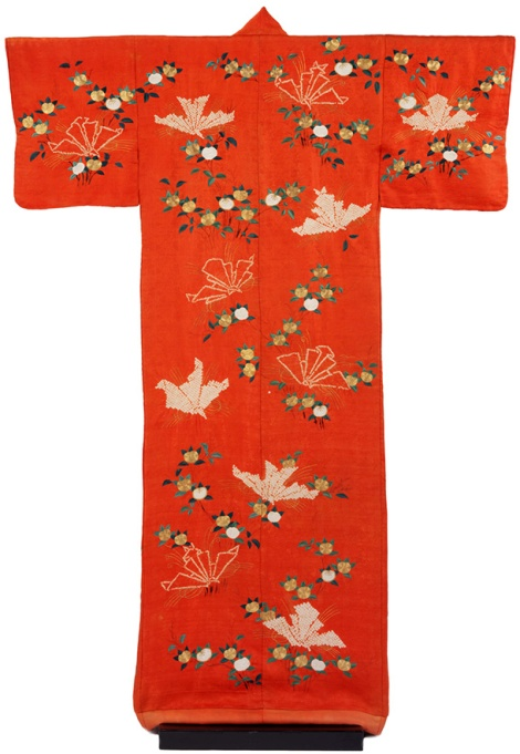 'Kimono for Women', 1800-50, silk (rinzu) with tie-dye (shibori) and embroidery.  Victoria and Albert Museum