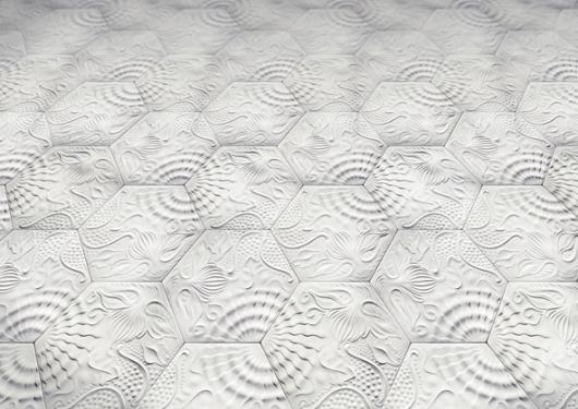 אריחים בהשראת אריחי ברצלונה שעיצב אנטוניו גאודי לפני 160 שנה. אין סכנת החלקה