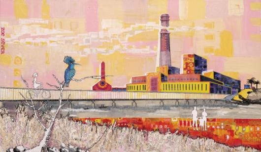 """""""הציור שלי הוא סוג של קליידוסקופ שדרכו רואים את התמונה כולה"""". נמל תל אביב - תחנת הכוח רידינג"""