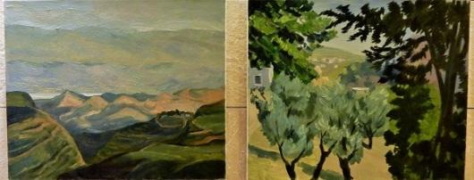 מצד אחד של הבית רואה גבעות חשופות ומהצד השני את גשר המיתרים הירושלמי. הציורים של לאה קוטוקוב
