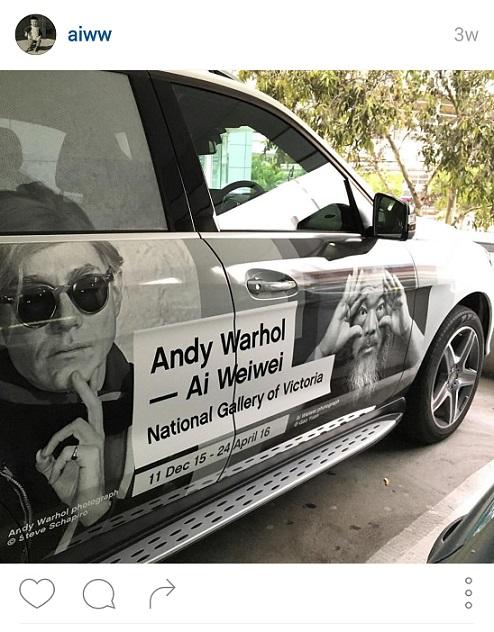 פרסומת לתערוכה במלבורן, אוסטרליה. צילום מתוך חשבון האינסטגרם של איי וויווי