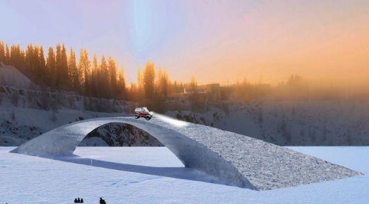 הגשר המקורי היה אמור להיות באורך 240 מטר, גשר הקרח יגיע לאורך של 35 מטר