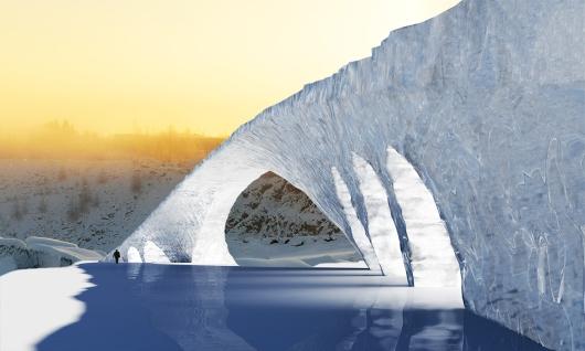 גשר הקרח המבוסס על גשר גלטה של לאונרדו דה וינצ'י (הדמיה)