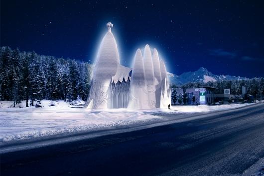 הצריח בסגרדה פמיליה התנוסס לגובה 30 מטר, מה שהפך אותו למבנה הקרח הגבוה בעולם