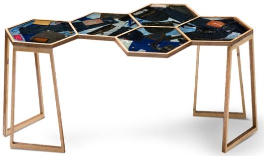 שולחן משושה unforgettable, עשוי מג'ינסים ישנים, שיצרו דנה בני ועמית מזרחי (צילום: יונתן בלום)