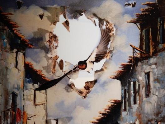 האמנות קמה לתחייה - חואן טאפיה (ספרד. סנוניות הרפתות חוזרות כל קיץ לקנן במחסן ישן בחווה של טאפיה. הוא תלה ציור שמן קרוע מול חלון שבור, שדרכו נוהגות הסנוניות להיכנס. שמונה שעות מאוחר יותר, בעזרת שלט רחוק, הוא הצליח לתפוס את הרגע הזה, כאילו הציפור פרצה פנימה מעולם אחר)