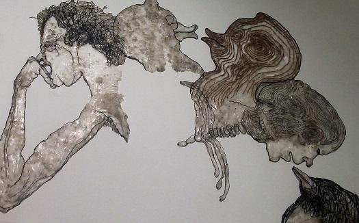 פרט מתוך 'בלי כותרת (מעגל טוטם)', אסף רהט, 2014. עבודה מקסימה שכולה חוטים ודבק