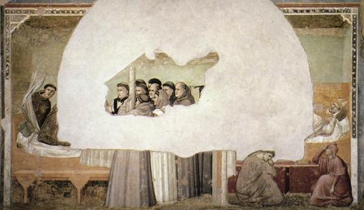 אצל אנשים שביקרו בגלריה או במוזיאון במהלך הפסקת הצהרים שלהם באמצע יום עבודה נרשמה ירידה ברמת הקוריטזול ///Scenes from the Life of St Francis: Vision of the Ascension of St Francis by GIOTTO di Bondone, 1325-28, Bardi Chapel, Santa Croce, Florence