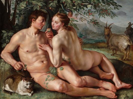 """כאשר 'מדביקים' לאובייקט את התווית """"אמנות"""", מתעוררת אצלנו תגובה נוירו-כימי אמיתית במוח, מאופקת יותר בהשוואה לתגובה המוחית למיצגים מציאותיים //// Hendrick Goltzius (Dutch, 1558 - 1617 ), The Fall of Man, 1616, oil on canvas, Patrons' Permanent Fund 1996.34.1"""