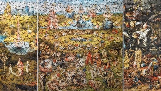 איבדתם חלקים מהפזל והחלטתם לזרוק אותו לפח? טעות! פשוט תרכיבו תמונה אחרת Vik Muniz, Garden of Earthly Delights, after H. Bosh, from the series: Gordian Puzzle, 2008