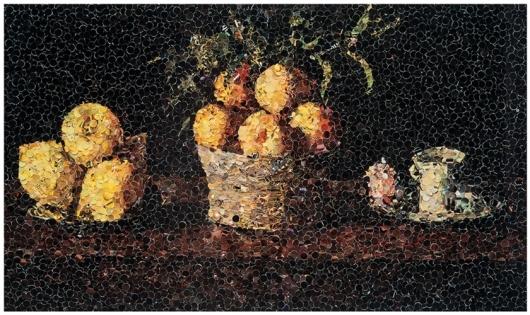 Vik Muniz - Still life with lemons oranges and a rose after francisco de zurbaran. העבודה, שעשויה מגזירי מגזינים ישנים, מועמדת למכירה תמורת מחיר התחלתי של 17 אלף דולר
