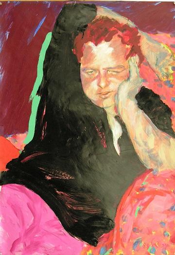 """""""צלם מחונן, ואדם יוצא דופן"""". אבי גנור, 1984, טכניקה מעורבת על נייר, מתוך התערוכה """"בראי אמנים"""" בבית רוזנטליס"""