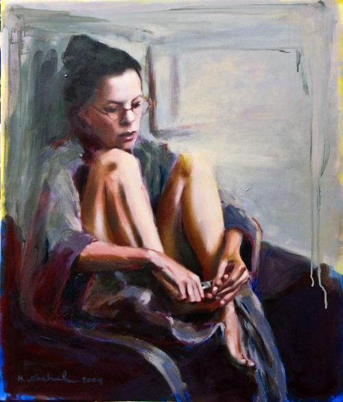 """Pedicure, 2009, שמן על בד, פורטרט עצמי מתוך התערוכה """"נדוניה"""", גלריה שטרן, תל אביב"""
