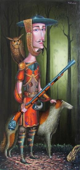 אחד הציורים שהכי אהבתי מבין יצירותיו של מאטראשווילי: צייד, שמן על קנבס