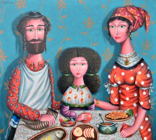 """""""בהתחלה הייתי עסוק יותר בחיי היום-יום היהודיים, ועם הזמן התעניינתי בתרבות ובחגים"""". ראש השנה, זוראב מטריאשווילי, שמן על קנבס"""