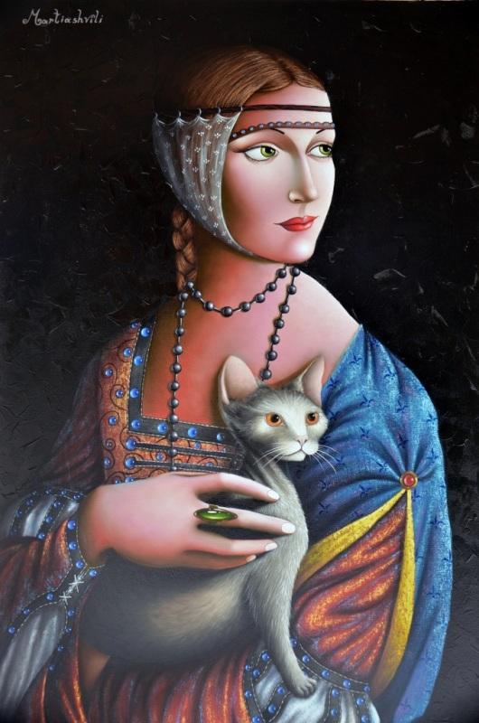 """""""אחד כמו דה וינצ'י יש רק אחת לאלף"""". אישה עם חתול, הומאז' ללאונרדו דה וינצ'י, זוראב מטריאשווילי, שמן על קנבס"""