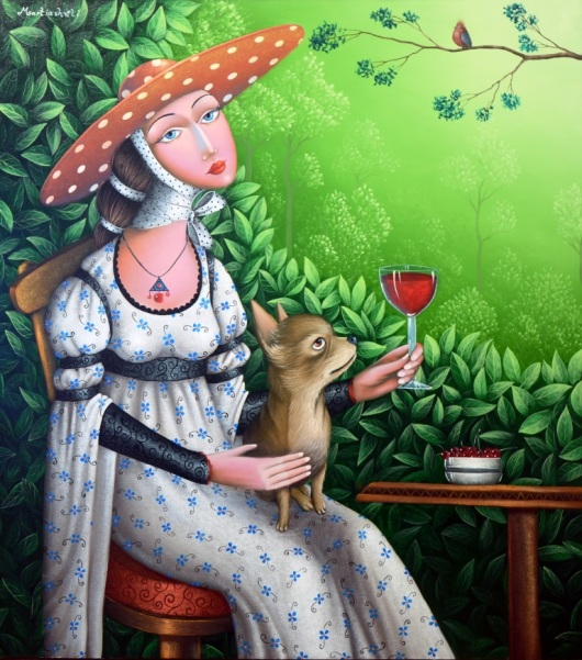 """""""לעורר רגשות חיוביים והחיוך על פניהם של אנשים - זהו סימן הטוב ביותר שהשגתי את מבוקשי"""". גברת עם כלב קטן בגן קיץ, זוראב מרטיאשווילי"""