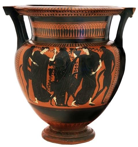 קרטר (כלי מהילת יין במים) עם תיאור של דיוניסוס, סילנים ומנדות, יוצר בין השנים 500-510 לפני הספירה. בחברה היוונית של אותה תקופה שתיית יין שאינו מהול במים נחשבה לחוסר ריסון עצמי. המנדות, נשים פרועות למראה, תוארו על פי רוב כשהן נתונות במצב של שלהוב אקסטטי וטירוף חושים בהשראת האל / צילום: ולדימיר נייחון